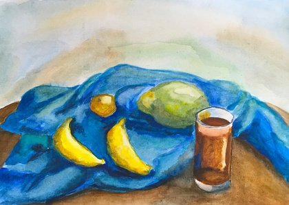 Multi Colored,Paintings,Drinking Glass,Illustration,Group of Objects,Fine Art Painting,hand-painted,Art And Craft,Still Life,Yellow,Tea - Hot Drink,Food,Blue,Banana,Textile,Fruit