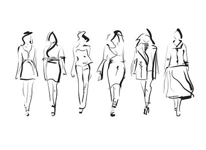 Fashion,Illustration,Fashion Model,Catwalk - Stage,Outline,Clothing,Vector,Glamour,Skirt,Summer,Women,Computer Graphic,Lifestyles,Collection,hand drawing,Ink,Mannequin,Walking,People,Autumn
