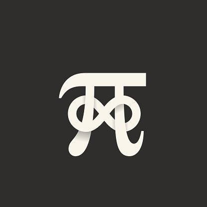 Pi Symbol With Infinity Sign Abstract Vector Icon Label Logo Stock