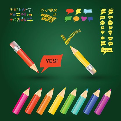 Multi Colored,Crayon,Single Object,Blue,Red,Creativity,Computer Graphic,Abstract,Backdrop,Business,Paper,Yellow,Education,Equipment,Wood - Material,Eternity,Writing,Eraser,Sign,Illustration,Backgrounds,Vector,Speech,Pencil