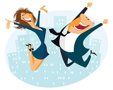 Joy,Office,Achievement,Business,Success,Young Adult,Occupation,Winning,White Collar Worker,Celebration,Urban Scene,Females,White,Businesswoman,Humor,Cool,Energy,Business Person,Illustration,Smiling,Fun,City Life,Businessman,People,Women,Jumping,Men,Vector,Cheerful