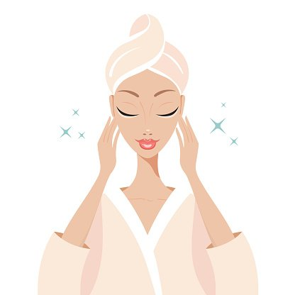 Beautiful Young Woman Touching Her Face Beauty Spa Skincare Concept Vector Images