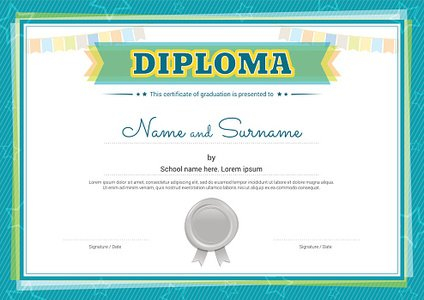 Colorful Diploma Certificate Template for Kids IN Vector stock ...