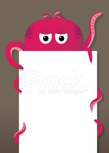 Octopus,Monster,Hiding,Blank,Vector,Ilustration,Paper,Document,Panel,Illustrations And Vector Art,Concepts And Ideas,Copy Space