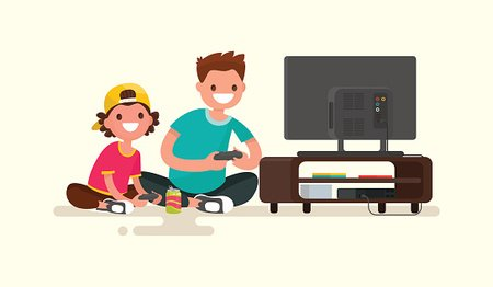 Father And Son Playing Video Games On Game Stock Vectors 365psd Com