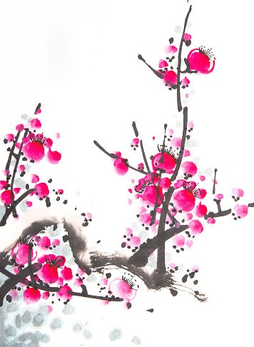 Colorful Cherry Blossom Painting
