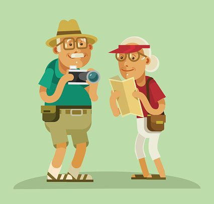 Men,Senior Adult,Veteran,Pension,People,Retirement,Women,Computer Graphic,Searching,Grandparent,Camera - Photographic Equipment,Direction,Symbol,Tourist,Family,Summer,Illustration,Vacations,Vector,Grandmother,Activity,Grandfather