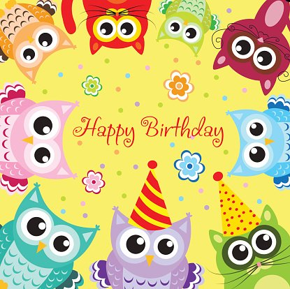 Multi Colored,Backgrounds,Vector,Child,Cheerful,Real People,Happiness,Fun,Postcard,Kitten,owlet,Domestic Cat,Birthday,Invitation,Congratulating,Young Animal