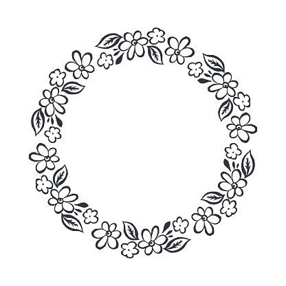 Wreath of Hand Drawn Vector Round Frame stock vectors - 365PSD.com