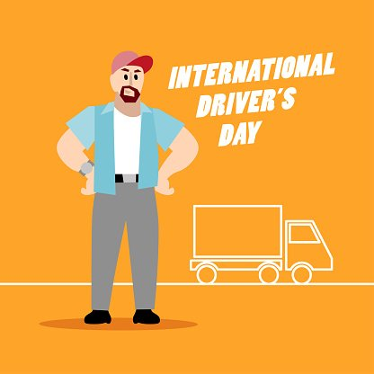 Men,Flat,Smiling,Delivering,Cheerful,One Person,Pick-up Truck,Sign,Truck,Standing,Simplicity,People,Occupation,Isolated,Illustration,Message