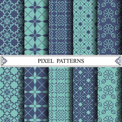 Pixel Pattern Textile Pattern Fills Web Page Background Surf