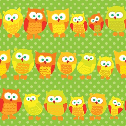 Fashion,Fun,Textile,Eternity,Spotted,Computer Graphic,Illustration,Seamless,Togetherness,Repetition,Pattern,Nature,Decoration,Decor,Green Pea,Owl,Scrapbook,Order,Vector,Backdrop,Backgrounds,Cute,Multi Colored,Child,Bird,Animal