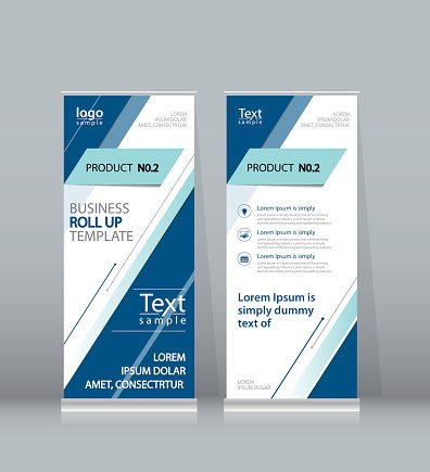 Roll Up Banner X Stand Display Design Template For Business Images