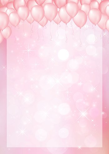 Pink Background With Balloon Header And Border Stock