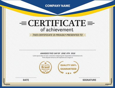 blue design diploma certificate template vector illustration stock