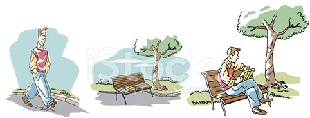 Reading,Book,Park - Man Made Space,Men,Tree,Formal Garden,Seat,Walking,Modern Life,Vector Cartoons,Isolated Objects,Illustrations And Vector Art,Novel,Concepts And Ideas,Literature
