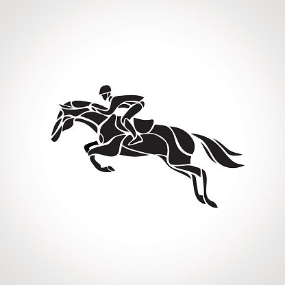 Horse Race Equestrian Sport Silhouette Of Racing With Jockey