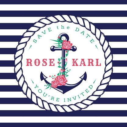 Frame,Romance,Retro Styled,Flower,Banner,Rope,Sea,Wedding,Summer,Anchor - Vessel Part,Sailor,Illustration,Banner - Sign,Inviting,Invitation,Wedding Invitation,Travel,Nautical Vessel,Backgrounds,Rose - Flower,Wedding Ceremony,Sailing,Typescript,Announcement Message,Vector,,Cruise,Navy Blue,Striped,Pattern,White Color,Pink Color