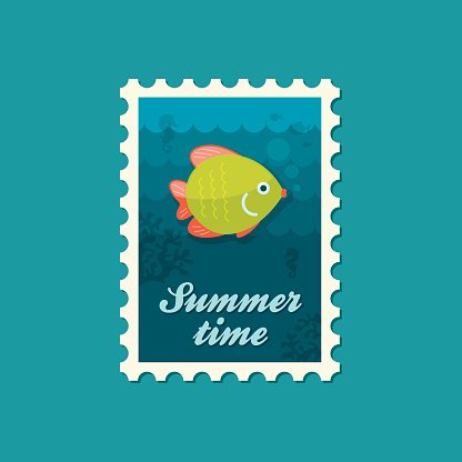 Fish vacation stock vectors for Fish symboled stamp