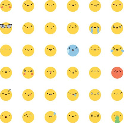 Emoji Icon Vector Flat Korean Style Isolated stock vectors - 365PSD com