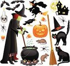 Halloween,Witch,Cauldron,Clip Art,Pumpkin,Symbol,Cartoon,Rat,Broom,Icon Set,haunted house,Spider,Set,Bat - Animal,Witch's Hat,Scrapbook,Crow,Human Skull,Group of Objects,Silhouette,Flying,Design Element,Religious Icon,Spooky,Moon,Horror,Candy Corn,Black Color,Black Widow Spider,Holidays And Celebrations,Illustrations And Vector Art,Vector Icons,Holiday,Icon Series,Sitting,Sitting Up,Carving - Craft Product,Color Image,Series,Halloween