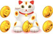 Domestic Cat,Maneki Neko,Currency,Luck,Japanese Culture,Chinese New Year,Good Luck Charm,Kitten,Happiness,Animal,Vector,Currency Symbol,Ilustration,Cheerful,Cute,East Asian Culture,Dollar,Paw,Decoration,Yen Sign,Japanese Currency,Cultures,$,Craft,Japanese Yen,Arms Raised,Feline,European Union Currency,Front View,Wealth,No People,Dollar Sign,Gesturing,Beckoning,Fortune Cat,2010,Euro Symbol