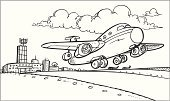 Airport,Drawing - Activity,Airplane,Ilustration,Cloud - Sky,Outline,Airport Runway,Cloudscape,Silhouette,Vector,Taking Off,Contour Drawing,Commercial Airplane,Transportation,Actions,Black And White,Illustrations And Vector Art