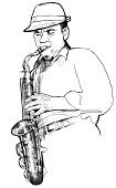Saxophonist,Jazz,Saxophone,Musical Instrument,Playing,Pencil Drawing,African Music,Music,Illustrations And Vector Art,Arts And Entertainment,Music,Drawing - Art Product,Sound,African Descent,Vector,Ilustration