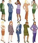 Women,Businesswoman,Standing,Telephone,Business,On The Phone,Talking,Symbol,Vector,Mobile Phone,African Descent,Confidence,Female,Icon Set,Suit,Professional Occupation,Ilustration,Occupation,Skirt,Recruitment,Employment Issues,Partnership,Blond Hair,Arms Akimbo,Redhead,Clip Art,Medium Group Of People,Isolated,Femininity,Isolated On White,Caucasian Ethnicity,Brown Hair