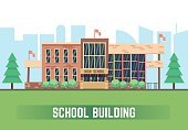 Horizontal,No People,Construction Industry,Illustration,Business Finance and Industry,School Building,Education,Building Exterior,Vector