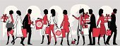 Shopping,Retail,Christmas,Customer,Women,People,Silhouette,Shopping Bag,Men,Bag,Fashion,Crowd,Consumerism,Holiday,Dog,Walking,Buying,Cartoon,Vector,Group Of People,Gift,Ilustration,Elegance,Retail Display,Profile View,Glamour,Package,Window Shopping,Outdoors,Christmas Tree,Bow,Style,People,Christmas,Holidays And Celebrations,Characters,Industry,Retail/Service Industry,christmas shopping
