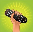Remote Control,Human Hand,Gripping,Television Set,Control,Holding,Winning,Success,VCR,Video,Global Communications,Power,Cable,Victory,Glowing,Stereo,Keypad,DVD,Objects/Equipment,Technology Symbols/Metaphors,Fuel and Power Generation,Technology,Shiny,CD-ROM,Conquering Adversity,Illustrations And Vector Art,Household Objects/Equipment,CD