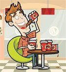 Coffee - Drink,Cartoon,Men,Drinking,Store,Humor,Drink,College Student,Sitting,Student,Coffee Shop,Bizarre,Vector,Tea - Hot Drink,Cafe,Cup,Addict,Effort,Addiction,Gasping,Ilustration,Holding,Male,Desire,Chaos,Drinks,People,Shaking,Food And Drink