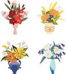 Vase,Flower,Bouquet,Cut Flowers,Cartoon,Sunflower,Vector,Bunch,Gerbera Daisy,Glass - Material,Cereal Plant,Pattern,Floral Pattern,Blooming,Design,Ornate,Group of Objects,Red,Yellow,Orange Color,Green Color,No People,Petal,Cornflower,Ilustration,Flower Head,Blue,Nature,Decoration,Vector Ornaments,Illustrations And Vector Art,Flowers,Vector Florals,Isolated On White,Chamomile Plant,Multy-colored,Leaf