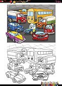 Preschool Age,Vertical,Characters,Humor,Black And White,Moving Activity,Caricature,Computer Software,Car,Activity,Cartoon,Collection,Coloring,Illustration,Transportation,Mobile App,Bus,Coloring Book,Education,Clip Art,Land Vehicle,Commercial Land Vehicle,Vector,Truck,Drawing - Art Product,White Color,Black Color