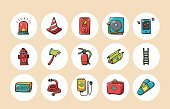 Horizontal,Ladder,Fire Extinguisher,Sign,Engine,Collection,Telephone,Illustration,SOS,Inferno,Symbol,Traffic,Flasher,Entering,Gallon,Fire - Natural Phenomenon,Flame,Vector,Red