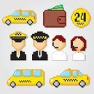 Taximeter,pixel art,twenty four hour,Pixelated,Square,Service,Service,Telephone,Icon Set,Car,Vector,Stopwatch,Sign,Buying,Illustration,Credit Card,Messenger,Currency,Taxi,Transportation,Yellow,Wallet,Checked Pattern