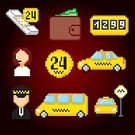 pixel art,Taximeter,twenty four hour,Pixelated,Square,Service,Taxi,Sign,Car,Service,Telephone,Illustration,Messenger,Icon Set,Transportation,Currency,Credit Card,Vector,Buying,Wallet,Checked Pattern,Yellow