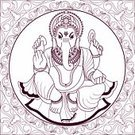 Ganesha,Ganesh,Indian Culture,Hinduism,God,Frame,Symbols Of Peace,Lords,Decoration,Design,Crown,Love,Ilustration,Vector,Symbol,Animal Trunk,Spirituality,Concepts And Ideas,Square,Illustrations And Vector Art,Outline,Pen And Ink,Religion,Innocence