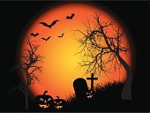 Halloween,Pumpkin,Tree,Spooky,Horror,Bat - Animal,Night,Backgrounds,Tombstone,Moon,Evil,Sky,Vector,Grave,Cross Shape,Holiday,Vector Backgrounds,Halloween,Illustrations And Vector Art,Autumn,Holidays And Celebrations