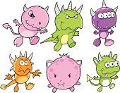 Monster,Cute,Characters,Set,Vector,Animal,Illustrations And Vector Art,Clip Art