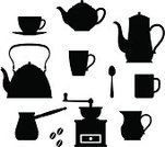 Teapot,Tea - Hot Drink,Silhouette,Cup,Coffee - Drink,Vector,Food,Coffee Pot,Mug,Afternoon Tea,Kettle,Coffee Grinder,Kitchen Utensil,Cafe,Set,Jug,Porcelain,Pottery,Ilustration,Drink,Coffee Cup,Crockery,Kitchenware Department,Breakfast,Ceramic,Espresso,Clip Art,Spoon,Service,Ceramics,Design,Isolated,Image,Illustrations And Vector Art,Food And Drink,Drinks,Kitchen Equipment,Isolated On White