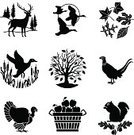 Squirrel,Deer,Duck,Turkey - Bird,Pheasant - Bird,Thanksgiving,Symbol,Acorn,Goose,Tree,Bird,Vector,Autumn,Basket,Apple - Fruit,Oak Tree,Stag,Flying,Cattail,Icon Set,Farm,Leaf,Nut - Food,Antler,Black And White,Crop,Harvesting,Ilustration,Animals In The Wild,Non-Urban Scene,Holiday,Rural Scene,Marsh,Beech Tree,Nature,Birch Tree,Clip Art,Picking,Single Object,Blessing,Maple Tree,Sassafras Leaf,American Culture,November,Abundance,October,USA,Concepts And Ideas,Illustrations And Vector Art,Icon Series,Nature,Time,Plants,Series