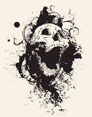 Human Skull,Dirty,Grunge,Death,Vector,Gothic Style,Scroll Shape,Design,Modern Rock,Spray,Growth,Old-fashioned,Ilustration,Ink,Splattered,Paint,Textured,Drawing - Art Product,Design Element,Drop,Ornate,Change,Plant,Distressed,Pen And Ink,Textured Effect,Rough,Eroded,Line Art,Mouth Open,Rotting,Damaged,Distraught,Visual Art,Arts Abstract,Arts And Entertainment,hand drawn,Messy,Illustrations And Vector Art