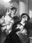 Assistance,Care,Authority,Care,Romance,Sharing,Assistance,The Past,History,Lifestyles,Social Issues,Vertical,Victorian Style,Black And White,Displeased,Crying,UK,England,Mother,British Culture,English Culture,Poverty,Baby,Child,Adult,Young Adult,Hood - Clothing,Bonnet,Widow,Jane Austen,Illustration,Engraved Image,Women's Issues,Consoling,Mourner,Women,Young Women,Only Women,Charity and Relief Work,Photography,One Parent,19th Century Style,Adults Only,19th Century,1800-1809,1810-1819,Single Mother,Illustrations And Vector Art