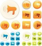 Megaphone,Symbol,Computer Icon,Sound,Interface Icons,Amplifier,Shiny,Orange Color,Vector,Blue,Green Color,Clip Art,intensified,Equipment,Communication,Label,Digitally Generated Image,Colors,Ilustration,Color Image