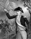 American Revolution,Military,Engraved Image,American Culture,Antique,Leadership,War,Black And White,Portrait,Sword,Ilustration,Guerilla Warfare,History,North Carolina,Action,Armed Forces,Army,Military Uniform,US Military,Period Costume,Old,18th Century Style,Historical Clothing,Men,Only Men,Vertical,Rank,People,Battle,Concepts And Ideas,Fourth of July,Group Of People,National Flag,The Past,Social History,Freedom,American Flag,Fine Art Portrait,Character Traits,Old-fashioned,Full Length,Flag,Uniform,USA,Officer,Army Soldier,Actions