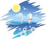 Sailing,Wave,Windsurfing,Vacations,Water Sport,Vector,Seagull,Sea,Water,Sun,Horizon,Blue,Seascape,Wind,Landscape,Tropical Climate,Outdoors,Summer,Sky,Cloud - Sky,Sports And Fitness,Bird,Illustrations And Vector Art,Travel Locations,Water,Vector Backgrounds,Weather,Curve