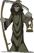 Grim Reaper,Death,Human Skull,Dead Person,Depression - Sadness,Hourglass,Robe,Ilustration,Scythe,Visual Art,Arts And Entertainment,Concepts And Ideas