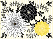 Floral Pattern,Black Color,White,Abstract,Yellow,Backgrounds,Vector,Design,Pinstripe,Leaf,Vector Florals,Illustrations And Vector Art,Composition